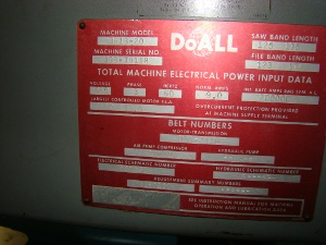 36 x 13 , DOALL, No. 3613-20, EVS varispeed, 1 blade, 3 HP, 1979