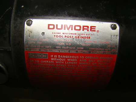 DUMORE, No. 57-021, 1/2 HP, 3600 to 32600 rpm, #5T-200-0021 ID spindle