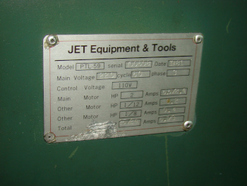 JET, #PTL-59, 6 pos. turret, 5C collet closer, cross slide, CL, 1981