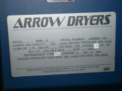 105 CFM, 125 PSI, ARROW, #3532-3, refrigerated
